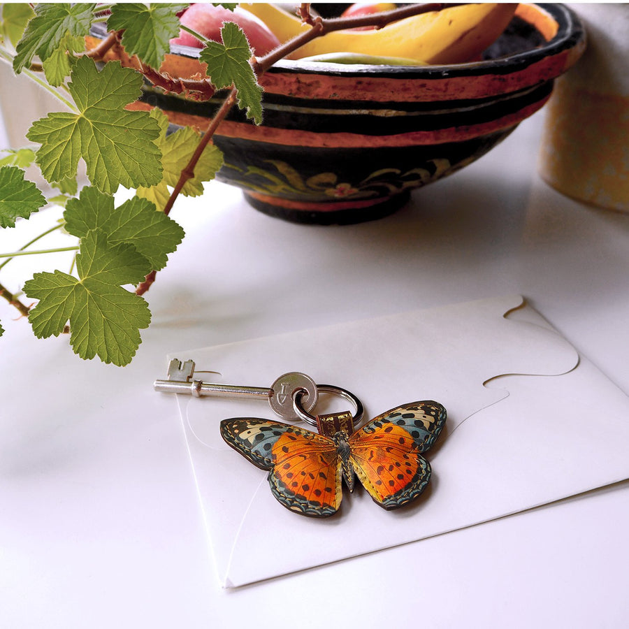 Butterfly key ring made from real leather by British designer Tovi Sorga.