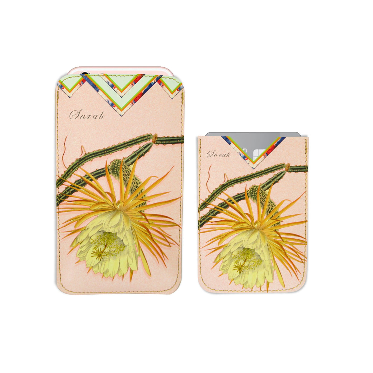 Leather Phone Case Sleeve - Cactus Flower Phone case Tovi Sorga iPhone X With personalisation Pink