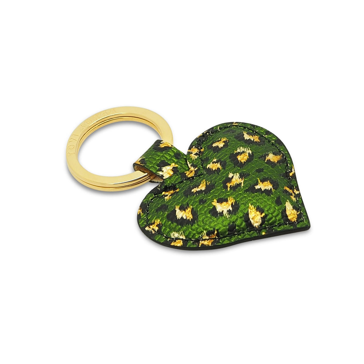Metallic Leather Contactless Payment Key Ring - Green and Gold Leopard Print Tovi Sorga Green