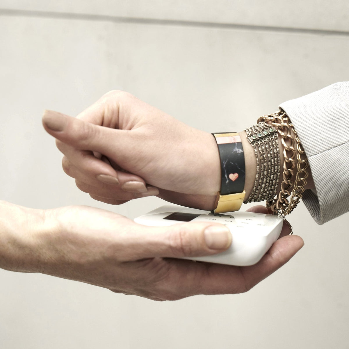 Leather Contactless Payment Bracelet: Black Marble Contactless Payment Bracelet Tovi Sorga