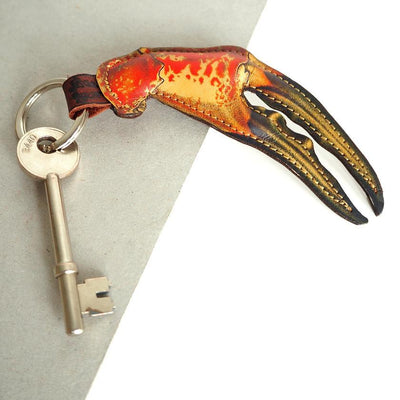 Leather key ring for men: crab claw key fob for fishermen and sea lovers by UK designer Tovi Sorga
