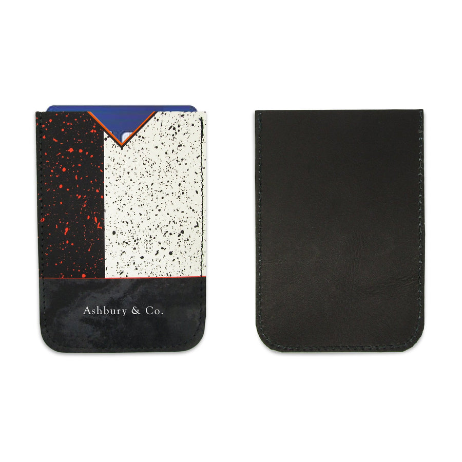 Leather Card Holder - Black and White Modernist
