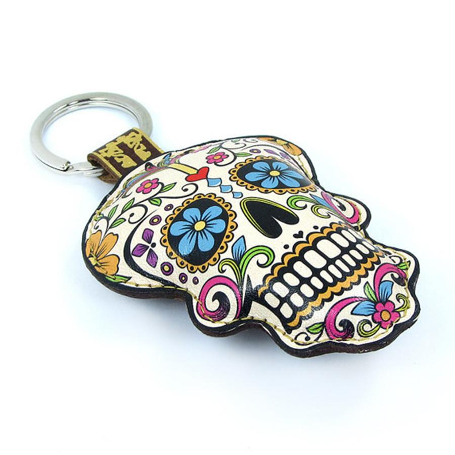 Leather Sugar Skull Key Chain / Key Ring - Flowers - Tovi Sorga  - 2