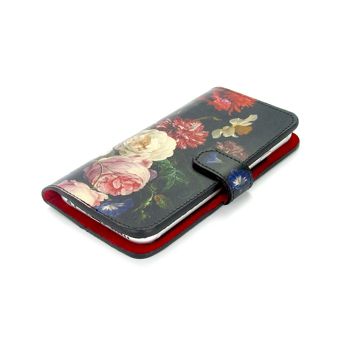 High quality 100% leather phone case for iPhone XR. iPhone XS Max leather case with floral print - A Dutch Spring - Tovi Sorga leather goods