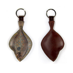 Leather Key Ring - Plaice Fish