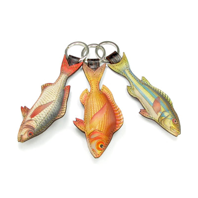Gifts for fishermen don't come more fun. Leather fish key rings, padded luxurious key chains by designer Tovi Sorga.