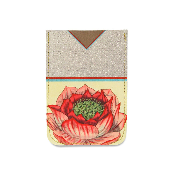 Leather Card Holder / Phone Sticker Wallet Pocket - Lotus Flower