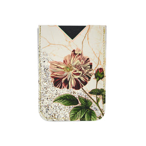 Leather Card Holder / Phone Sticker Wallet Pocket - Wild Rose