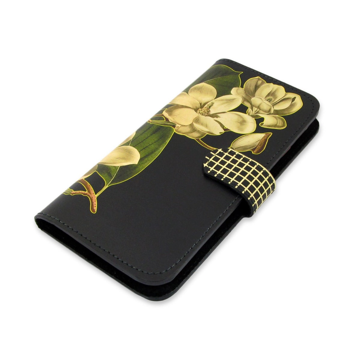 Leather case iphone 11 - iphone xr folio - xs iphone cover -  iphone x wallet  -  Black Magnolia Phone case - magnet clasp -