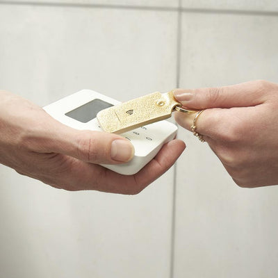 Leather Contactless Payment Key Fob - Gold