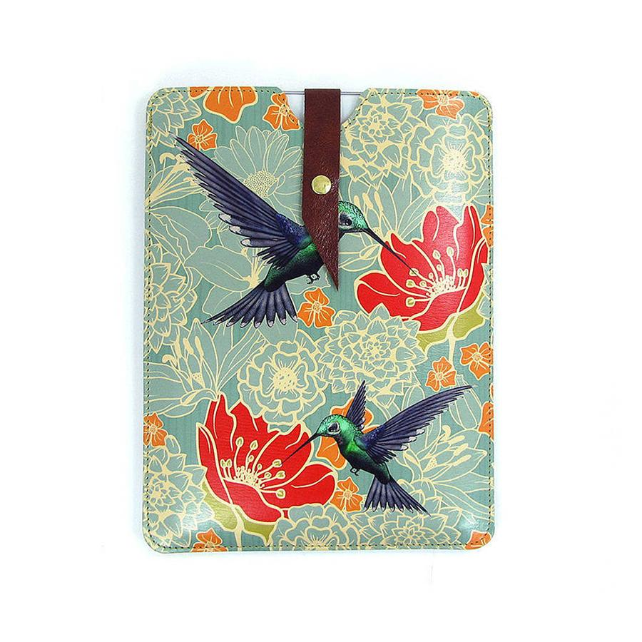 Leather iPad / Kindle / Tablet Case - Hummingbirds Phone case Tovi Sorga iPad Mini 1/2/3/4 / Small tablet or Kindle case Sleeve Green