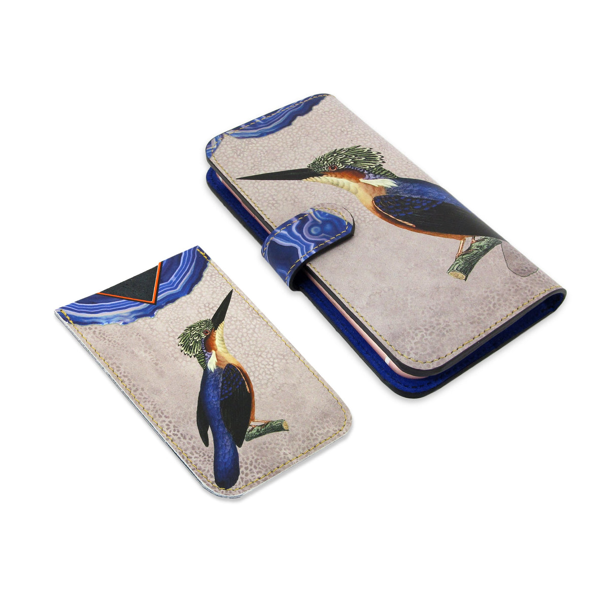 Leather Card Holder / Phone Sticker Wallet Pocket - Kingfisher Wallet Tovi Sorga