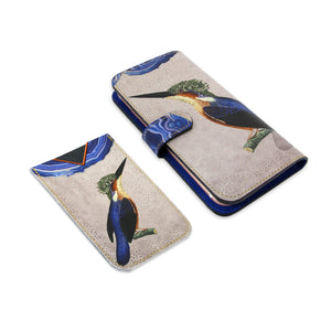 Leather Card Holder / Phone Sticker Wallet Pocket - Kingfisher