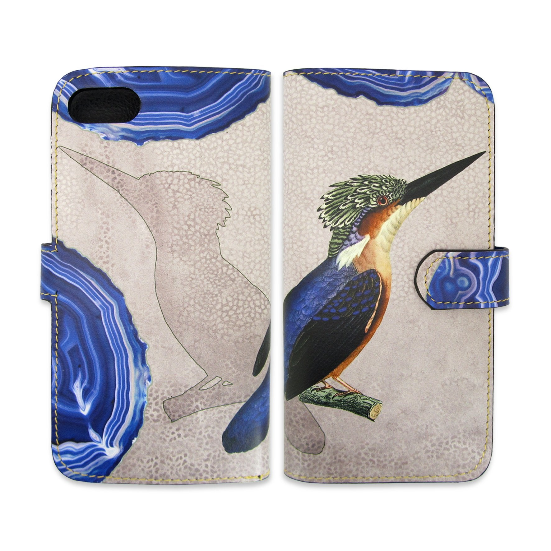 Phone wallets - Kingfisher Phone case - Blue bird phone case - Crystal print phone case – Blue and grey phone case -