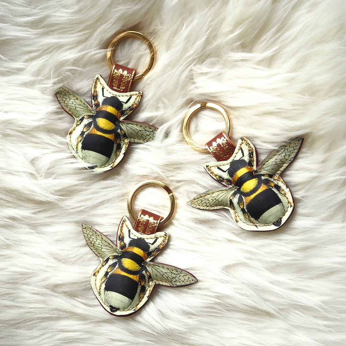 Leather Key Ring / Bag Charm - Bee