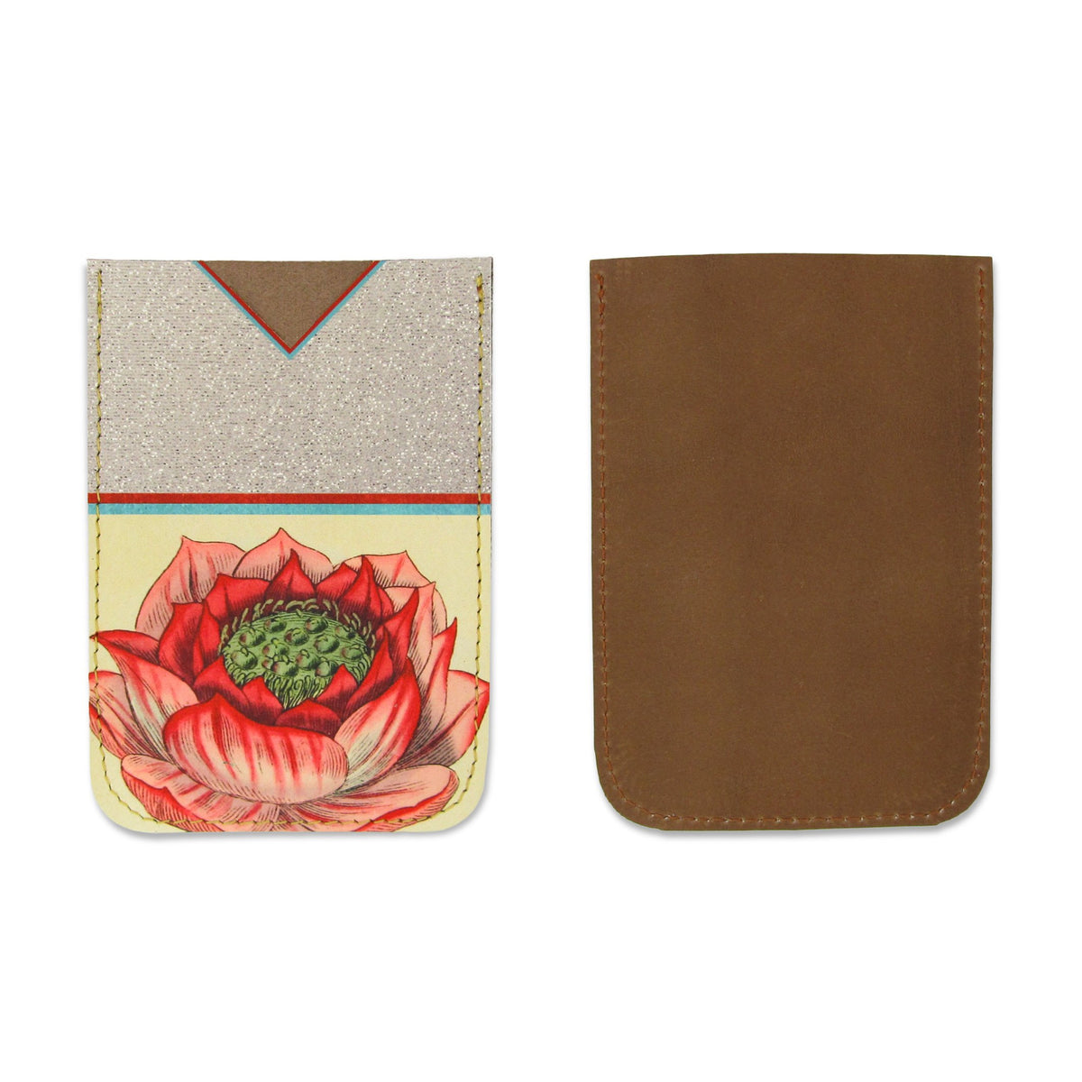 Leather Card Holder / Phone Sticker Wallet Pocket - Lotus Flower Wallet Tovi Sorga
