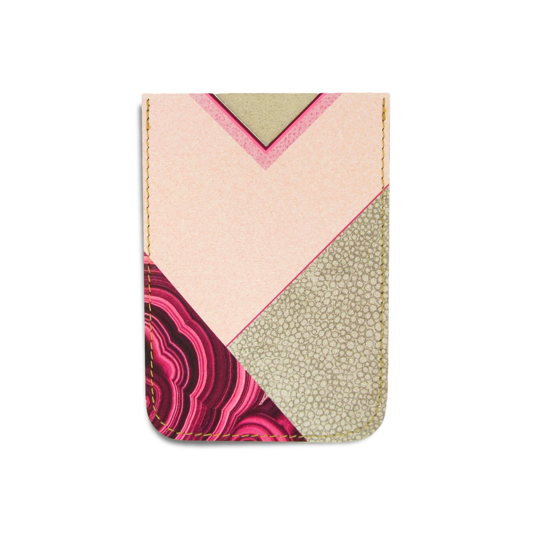 Leather Card Holder / Phone Sticker Wallet Pocket - Geometric Agate Wallet Tovi Sorga Standard Card Holder Without personalisation Pink