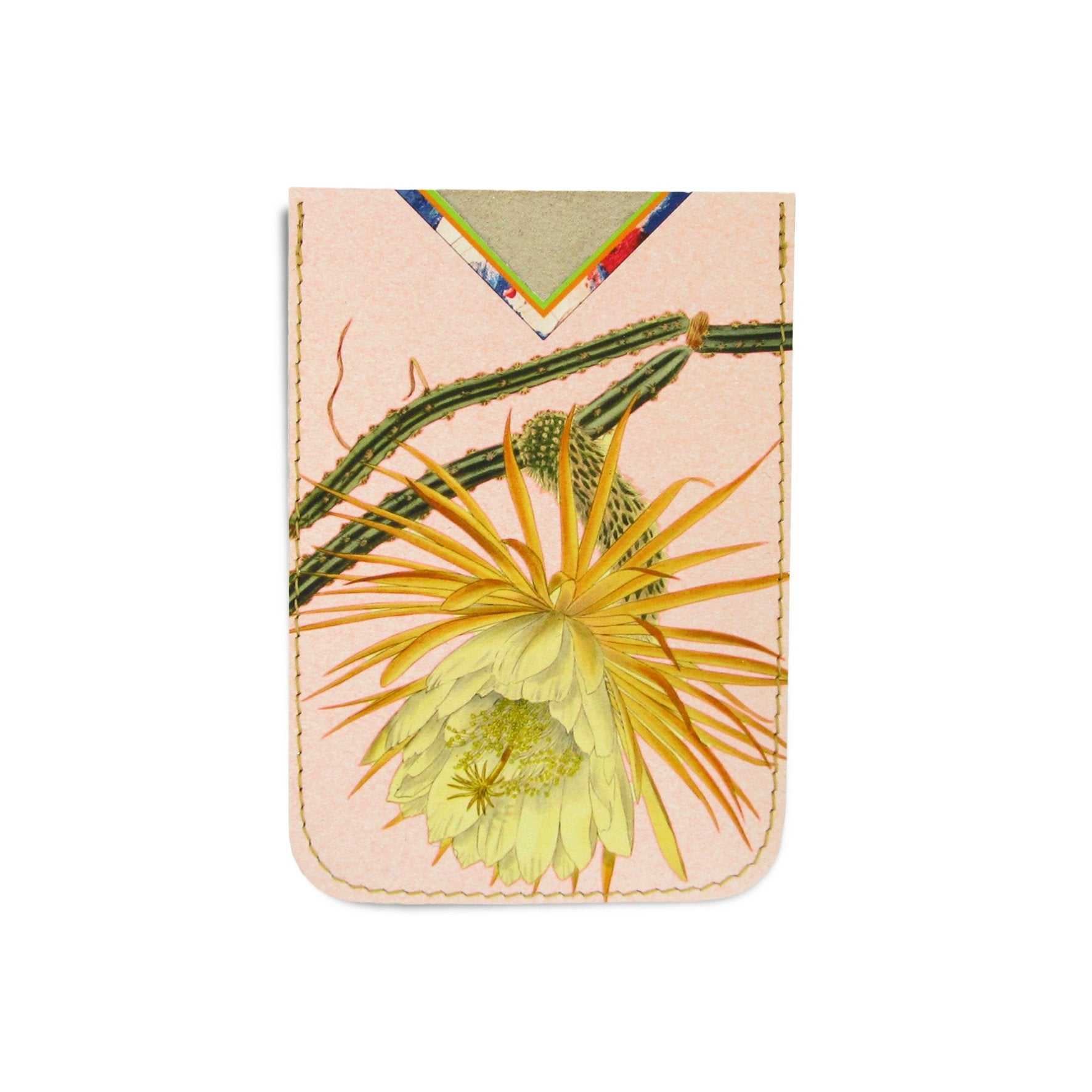 Leather Card Holder / Phone Sticker Wallet Pocket - Cactus Flower Wallet Tovi Sorga Standard Card Holder Without personalisation Peach