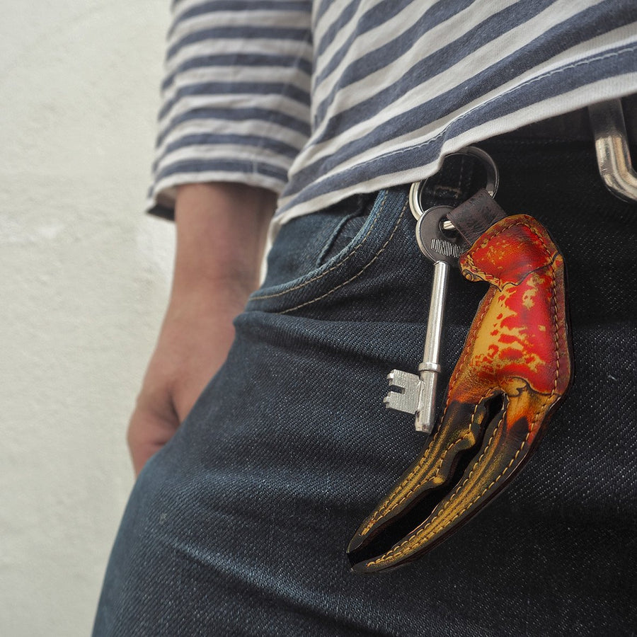Crab claw key fobs: 100% leather key rings for men - fun key chains make luxury gifts