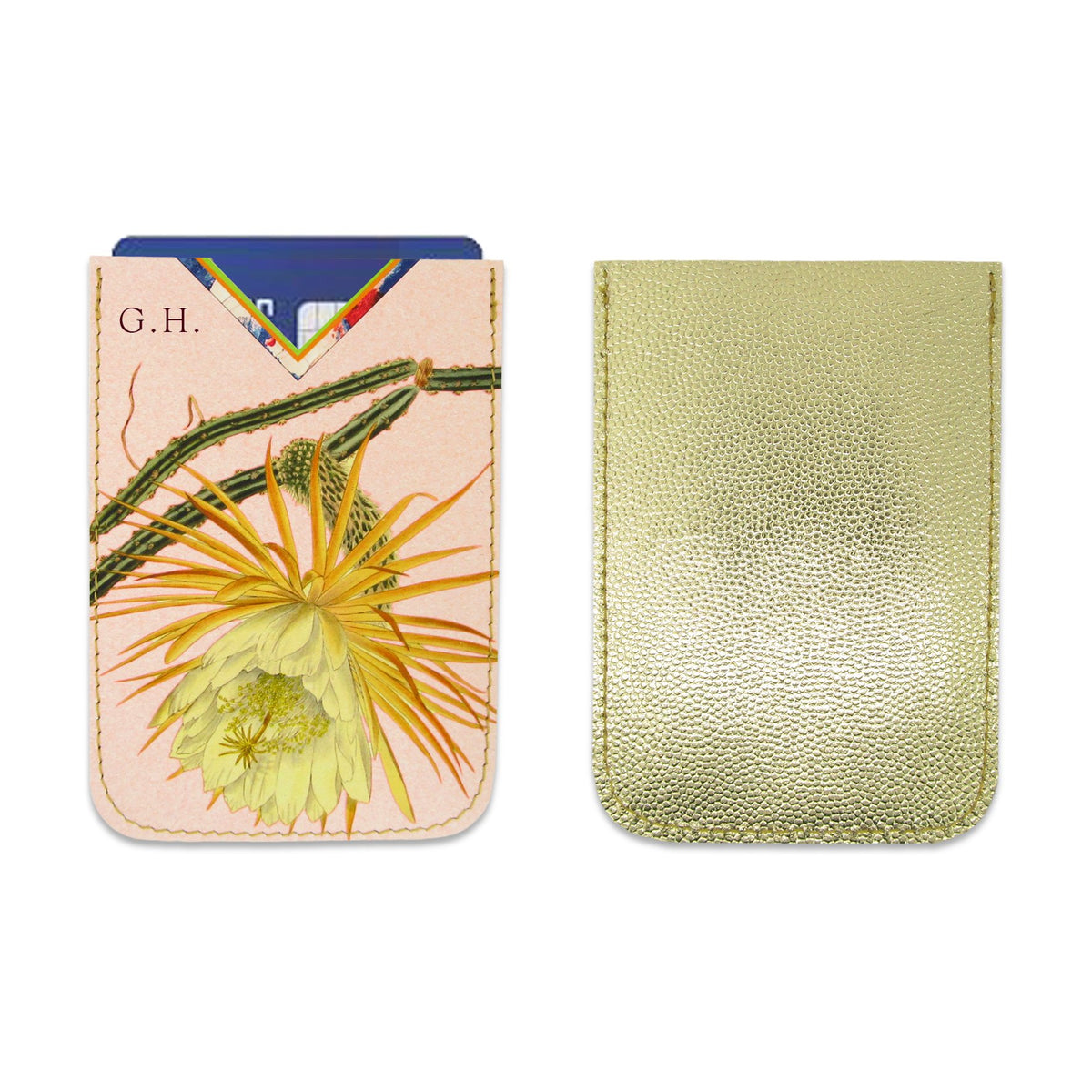 Leather Card Holder / Phone Sticker Wallet Pocket - Cactus Flower Wallet Tovi Sorga Standard Card Holder With personalisation Peach
