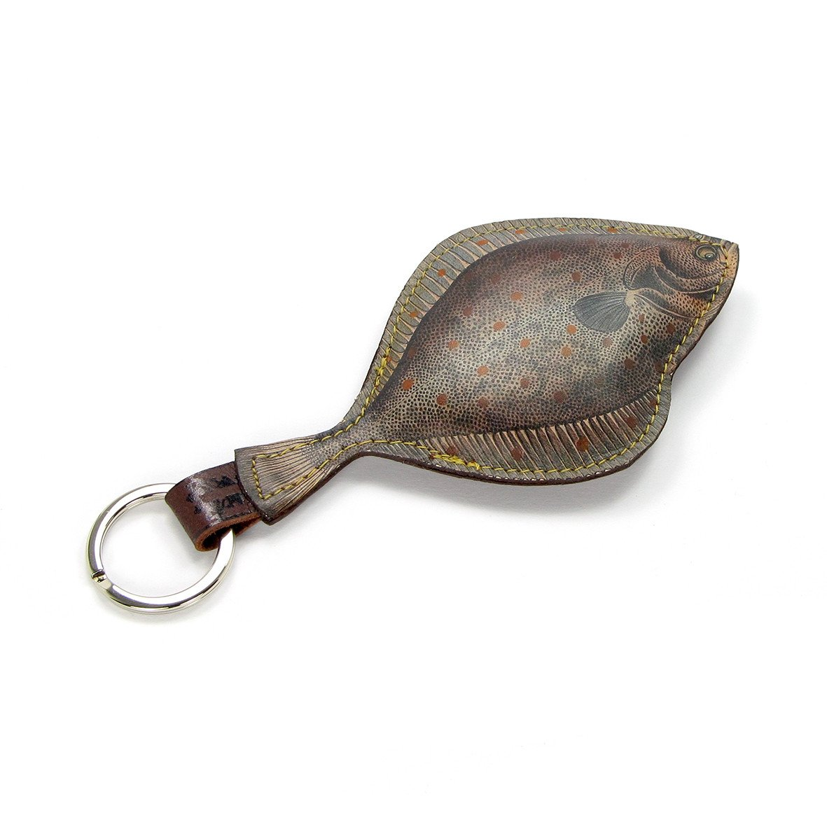 Leather Key Ring - Plaice Fish Key Ring / Bag Charm Tovi Sorga Grey