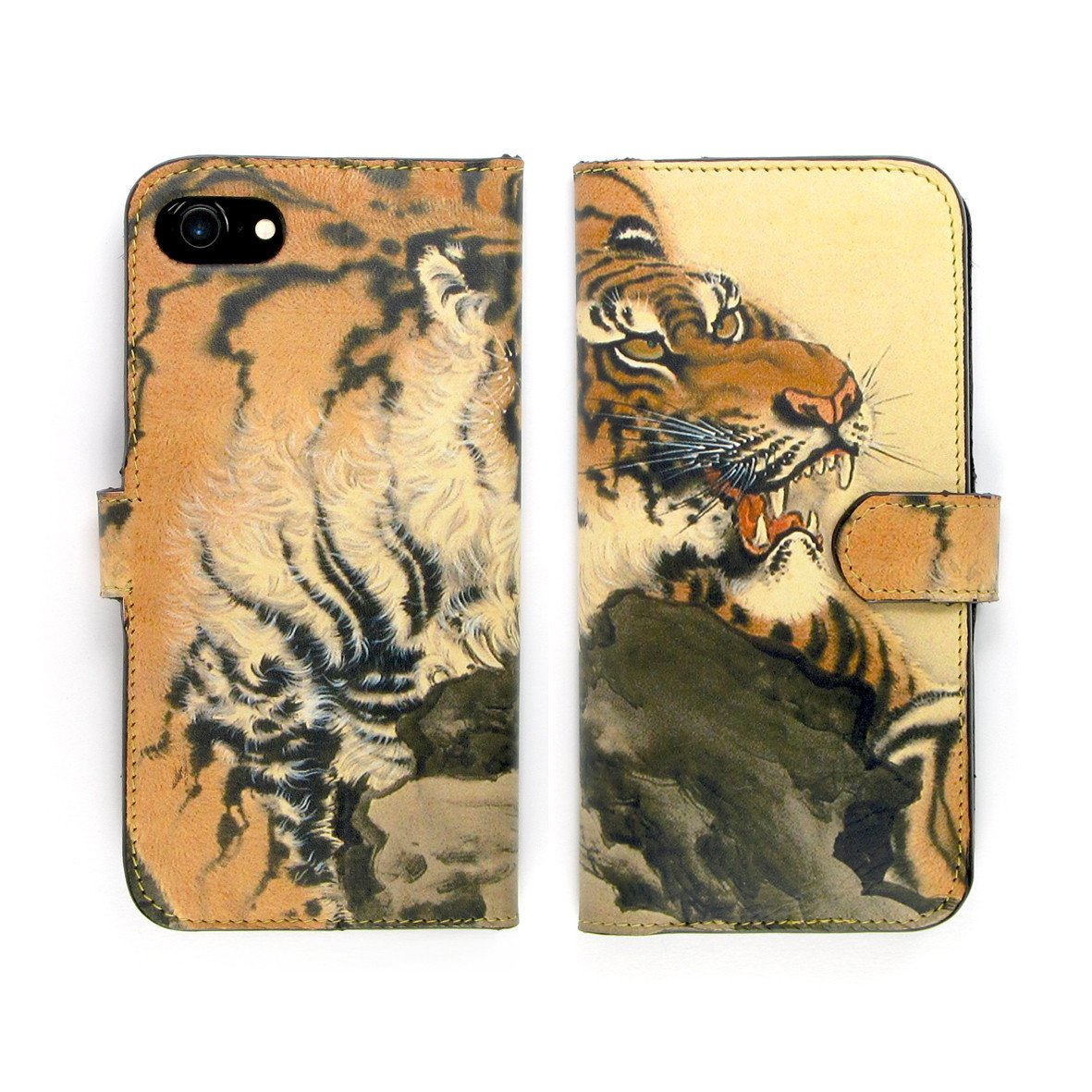 iPhone XS Max leather case. Tiger print phone case. Folio wallet designer flip phonecase by Tovi Sorga.