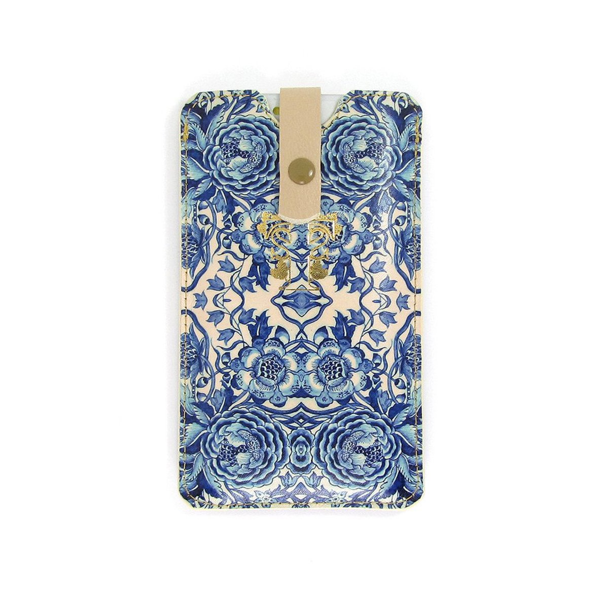 Leather Phone Case Sleeve - Blue & White Porcelain