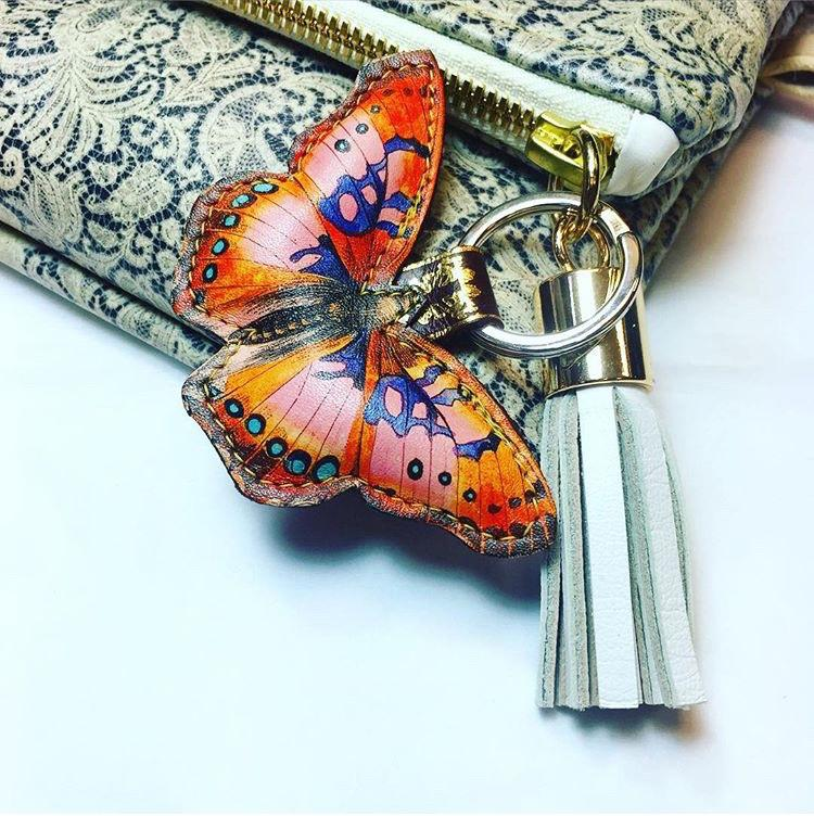 Butterfly bag charm and key ring pink printed leather luxury key chain by Tovi Sorga