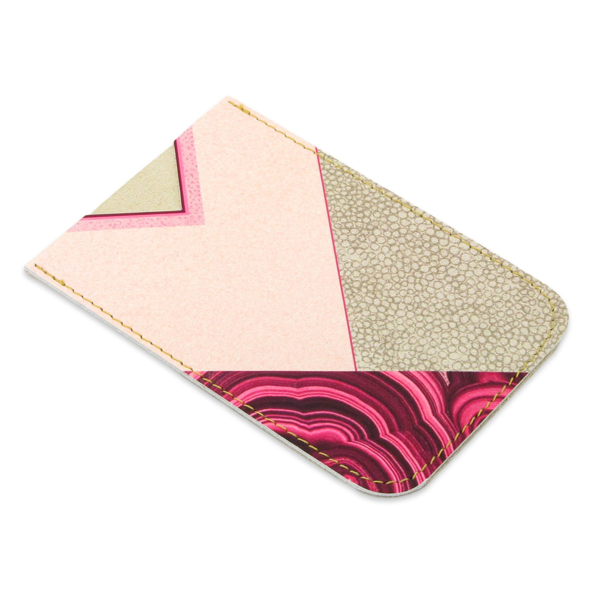 Leather Card Holder / Phone Sticker Wallet Pocket - Geometric Agate