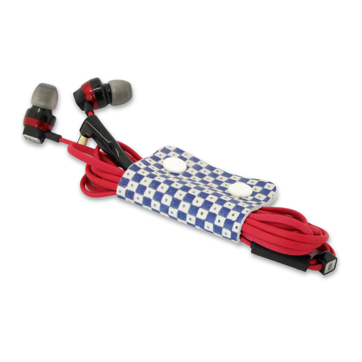 Leather Cable Tidy / Headphone Holder: Classic Wrap Cable Tidy Tovi Sorga In Check 1 Single Cable Tidy Multicolour