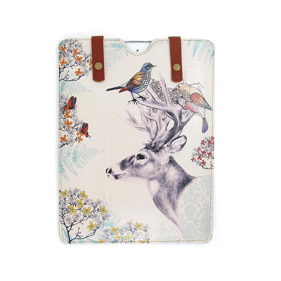 Leather iPad / Kindle / Tablet Case - Stag and Birds Phone case Tovi Sorga iPad Mini 1/2/3/4 / Small tablet or Kindle case Sleeve White