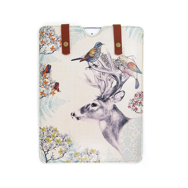 Leather iPad / Kindle / Tablet Case - Stag and Birds