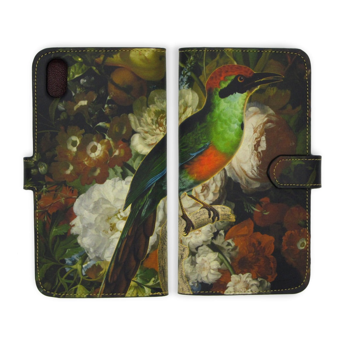iphone wallet phone case - Bird - Floral print phone case - Leather Folio Phone Case - Botanical case - female phone case - Tovi Sorga