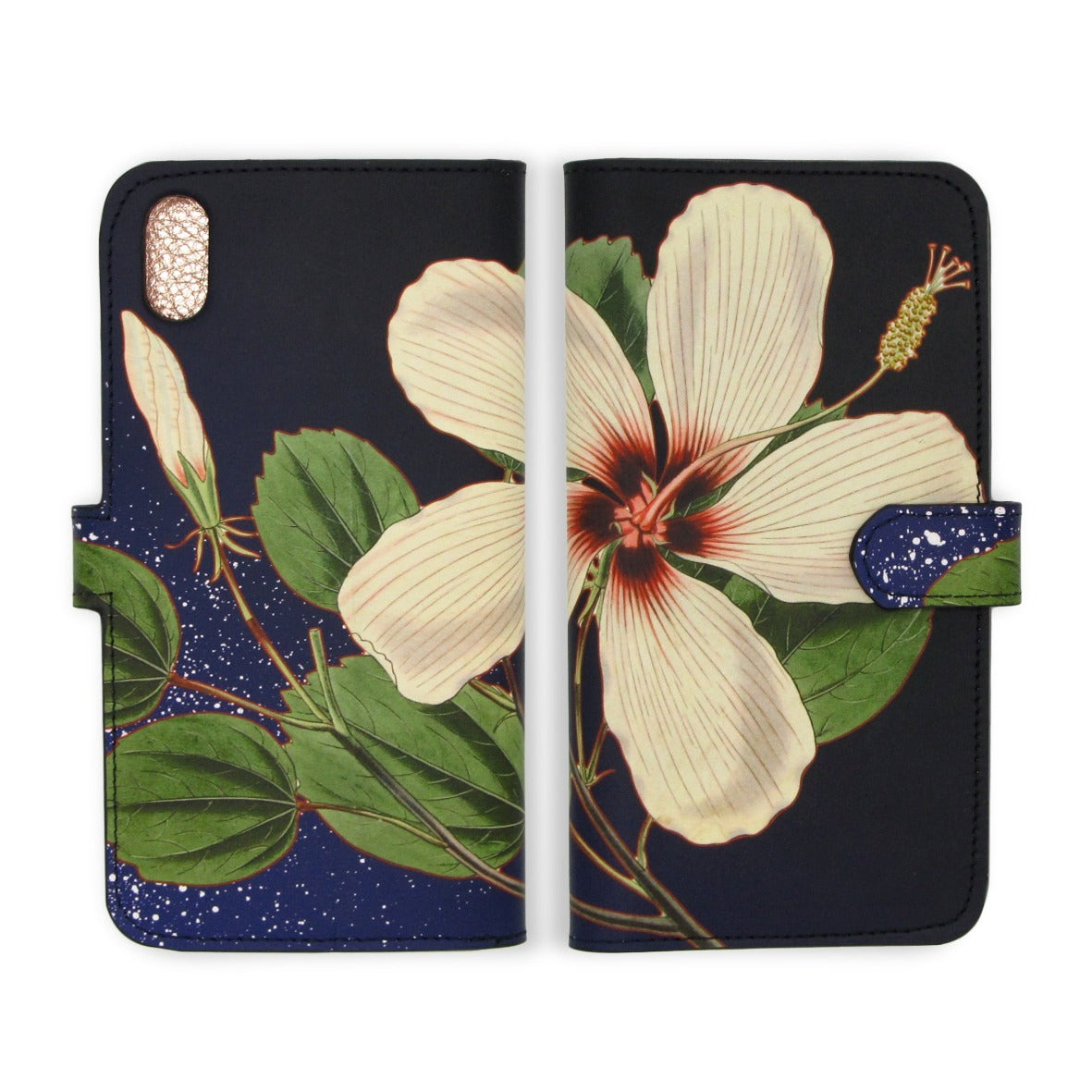 Leather Folio Phone Case - Hibiscus Nights
