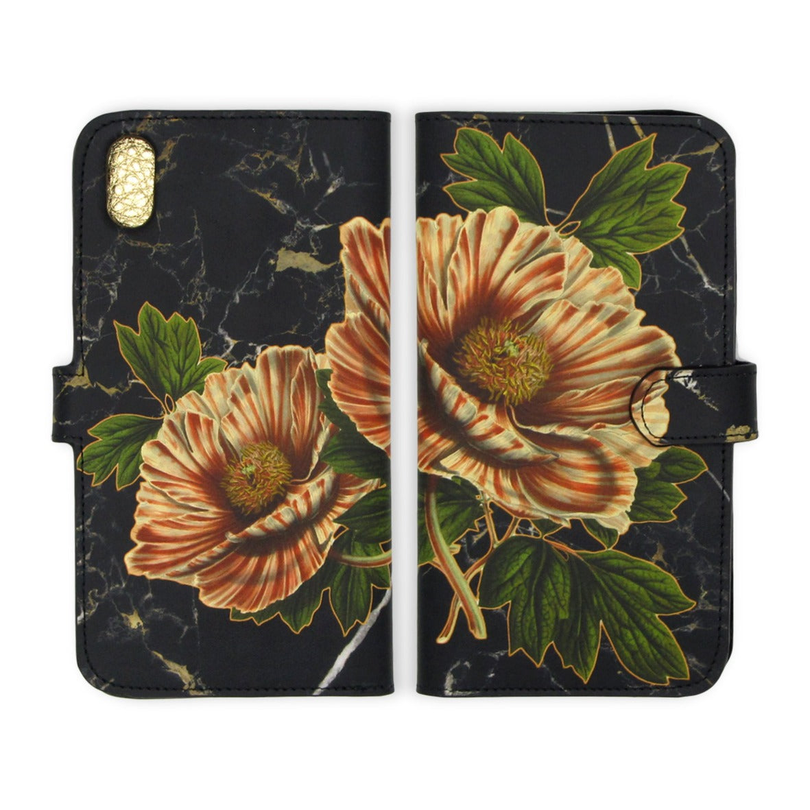 Tree Peony Phone case - Leather Folio Phone Case – Beautiful phone case – Luxurious iphone case - woman's mobile cover – floral and Marble print – peony printed phone case-