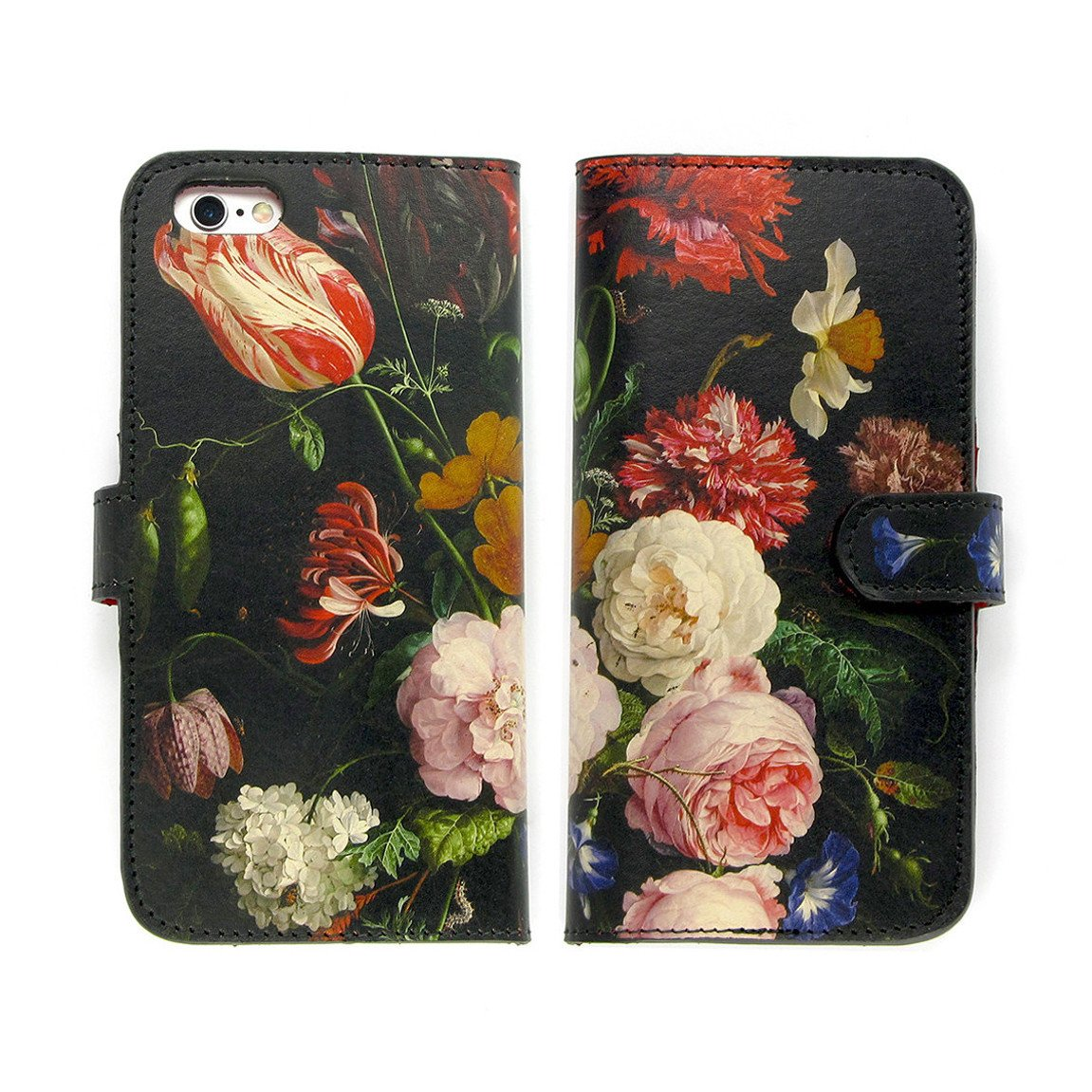 Eco friendly phone cases – black floral leather phone case with Dutch Masters print – iPhone 11 Pro Max - sweet pea print - pink flowers - Rachel Rusch