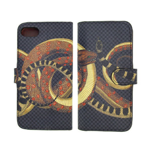 Snake iPhone XS Max leather phonecase. Reptile print phone case. Folio wallet designer flip phonecase by Tovi Sorga.