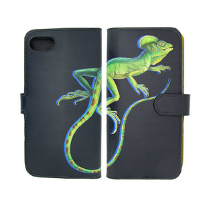 Black 100% leather iPhone XR case, iPhone XS phone case, iPhone XS Max phonecase - Lizard printed designer phone case by Tovi Sorga.