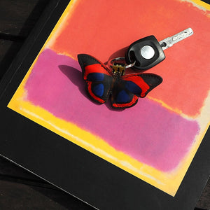 Mother's day gift ideas: leather butterfly key ring / key fob: Kahlo bright red summer gift