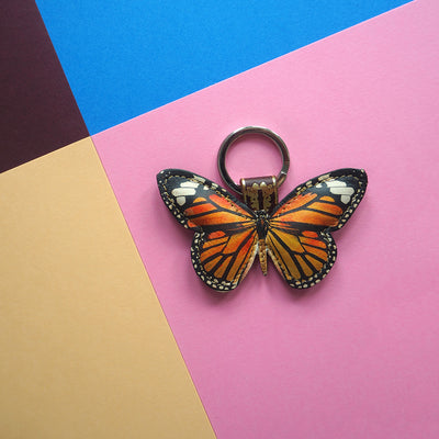 Leather Key Ring / Bag Charm - Monarch Butterfly