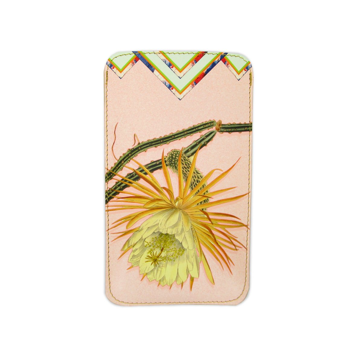 Leather Phone Case Sleeve - Cactus Flower