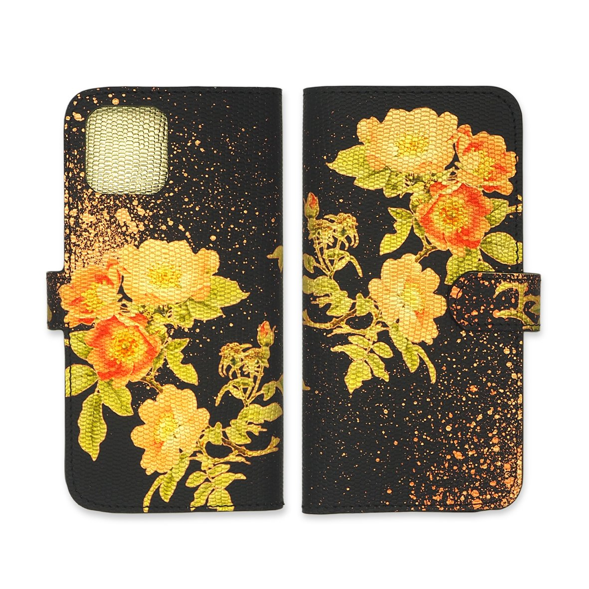 Leather Wallet Folio Phone Case - Gold Roses Phone case Tovi Sorga