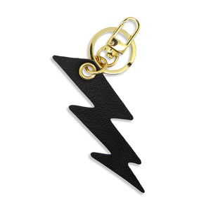 Leather Key Ring / Bag Charm - Lightning Bolt