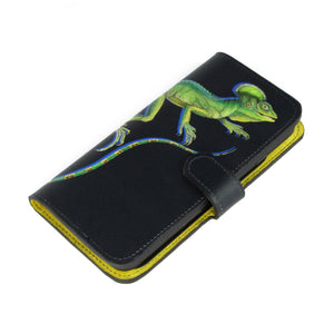 Black genuine leather iPhone XR case, iPhone XS phone case, iPhone XS Max phone case - Lizard printed designer phone case by Tovi Sorga.