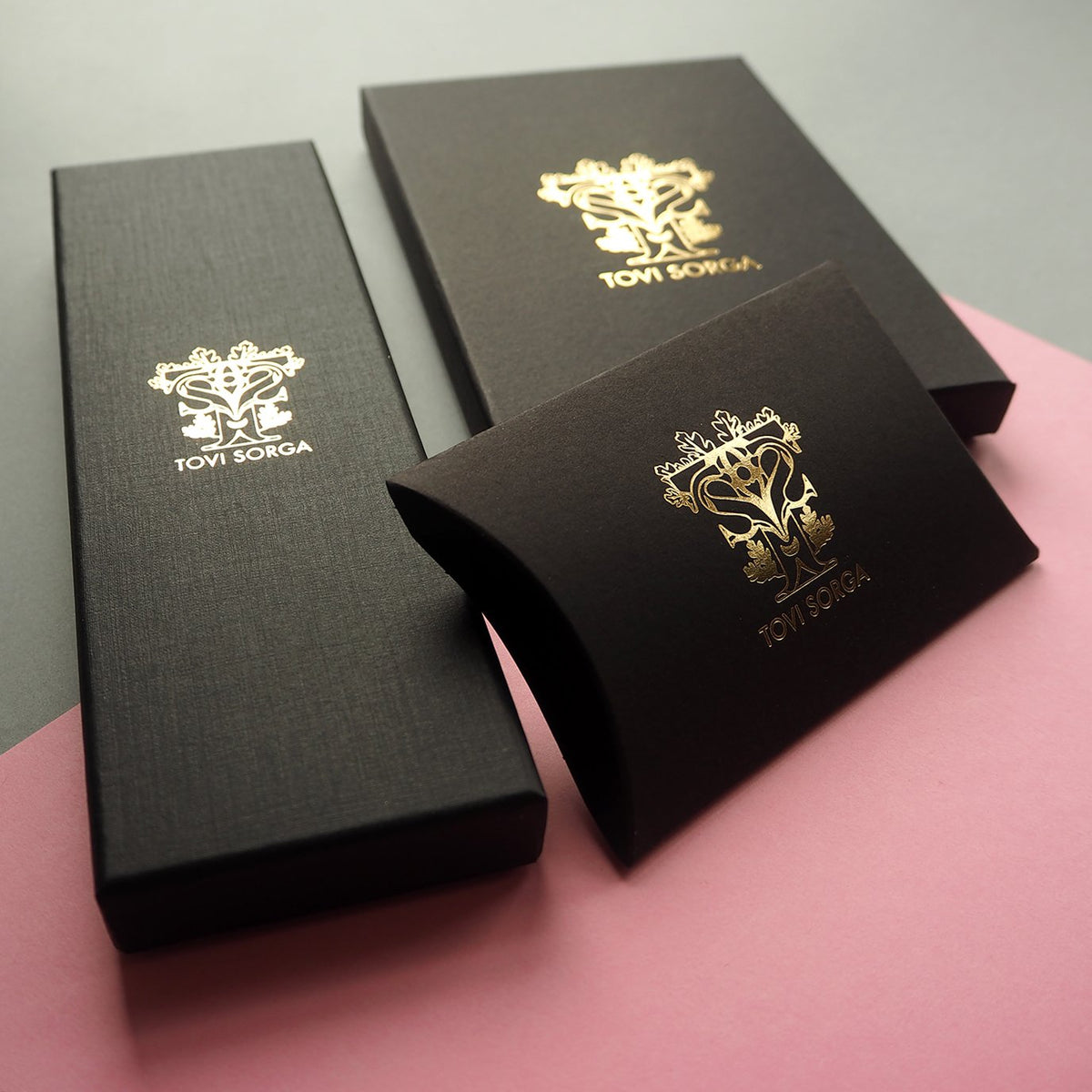 Small leather goods brand Tovi Sorga UK accessories and gifts in printed leather packaging