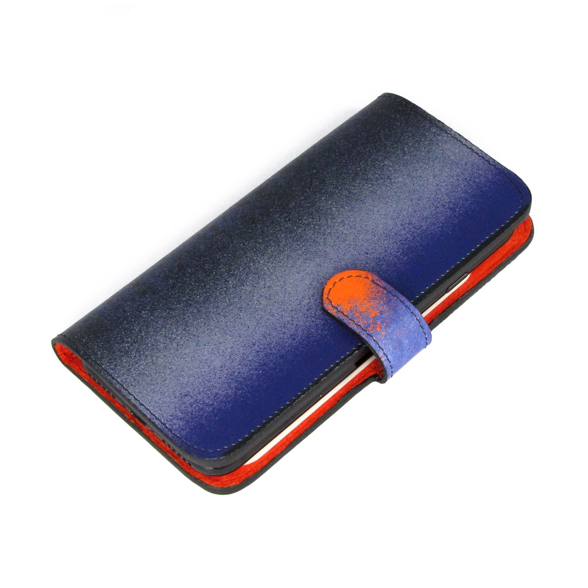 Phone case with card holder - iphone x leather case - Blue leather flip phone case - 100% leather folio with wallet pocket - Magnetic folio case - Blue and Orange - Samsung s10e folio -