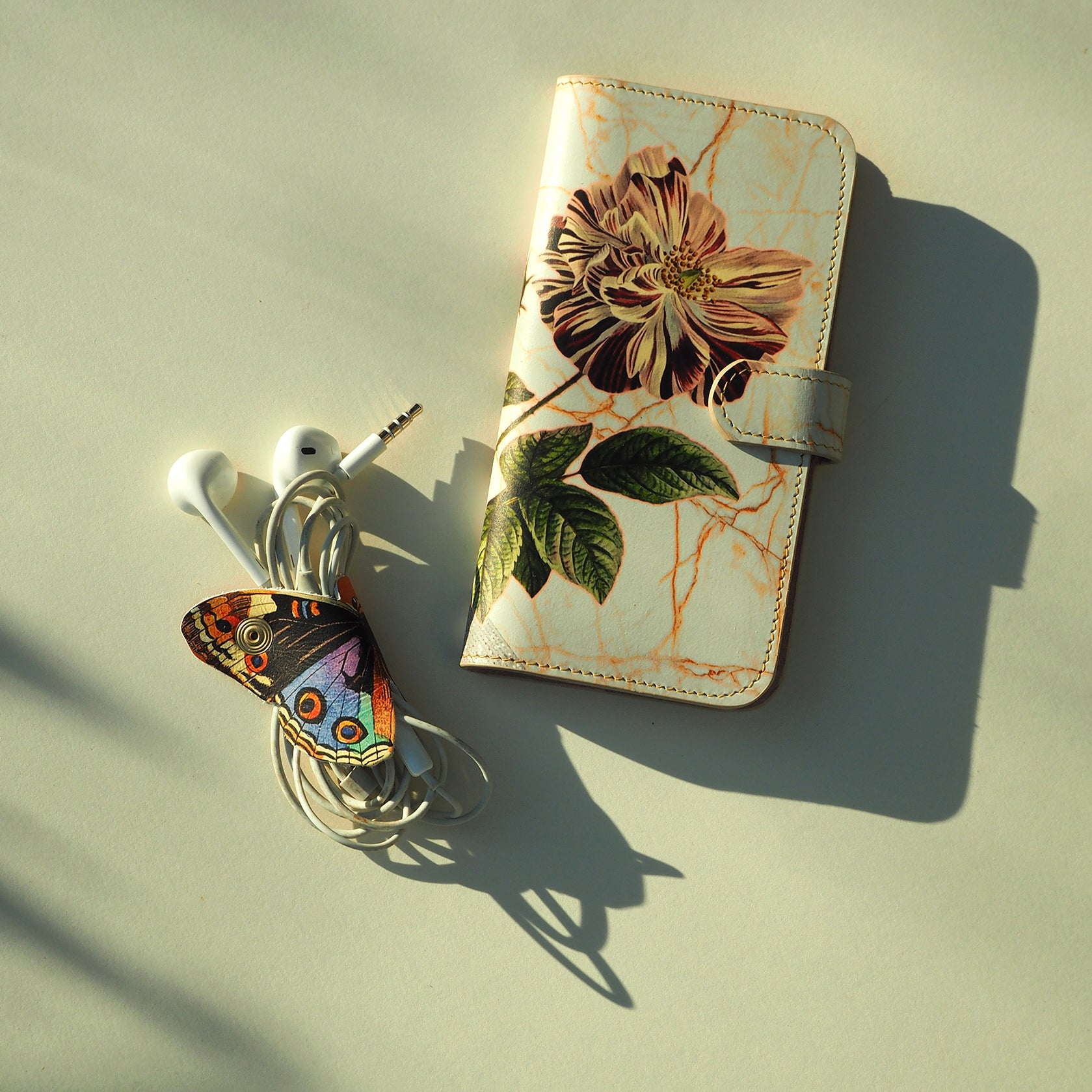 Leather Cable Tidy / Headphone Holder: Botanical Butterflies Cable Tidy Tovi Sorga
