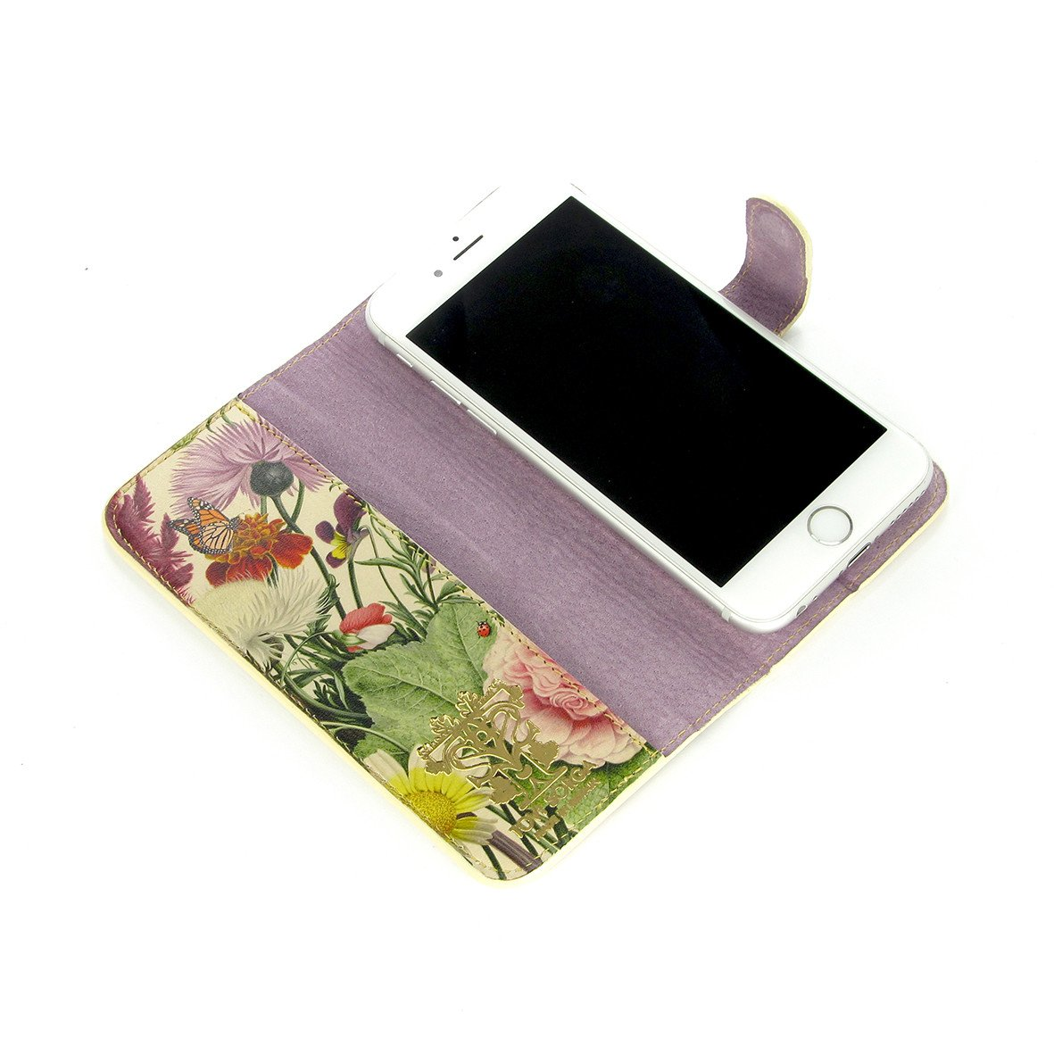 iphone 11 flip case - Leather Phone Case - English Summer Phone case - Mixed flower print phone case - Cream - wild flower print - Beautiful Floral print - Flowers