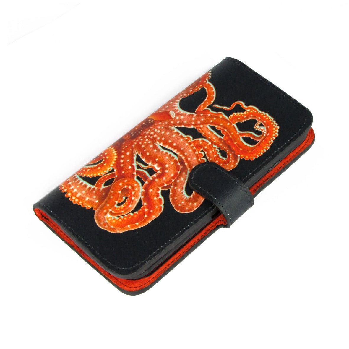 Black & orange case - leather samsung case - leather protective case - leather flip case - leather iphone case - iphone x wallet case - phone wallets - Octopus mobile phone wallet
