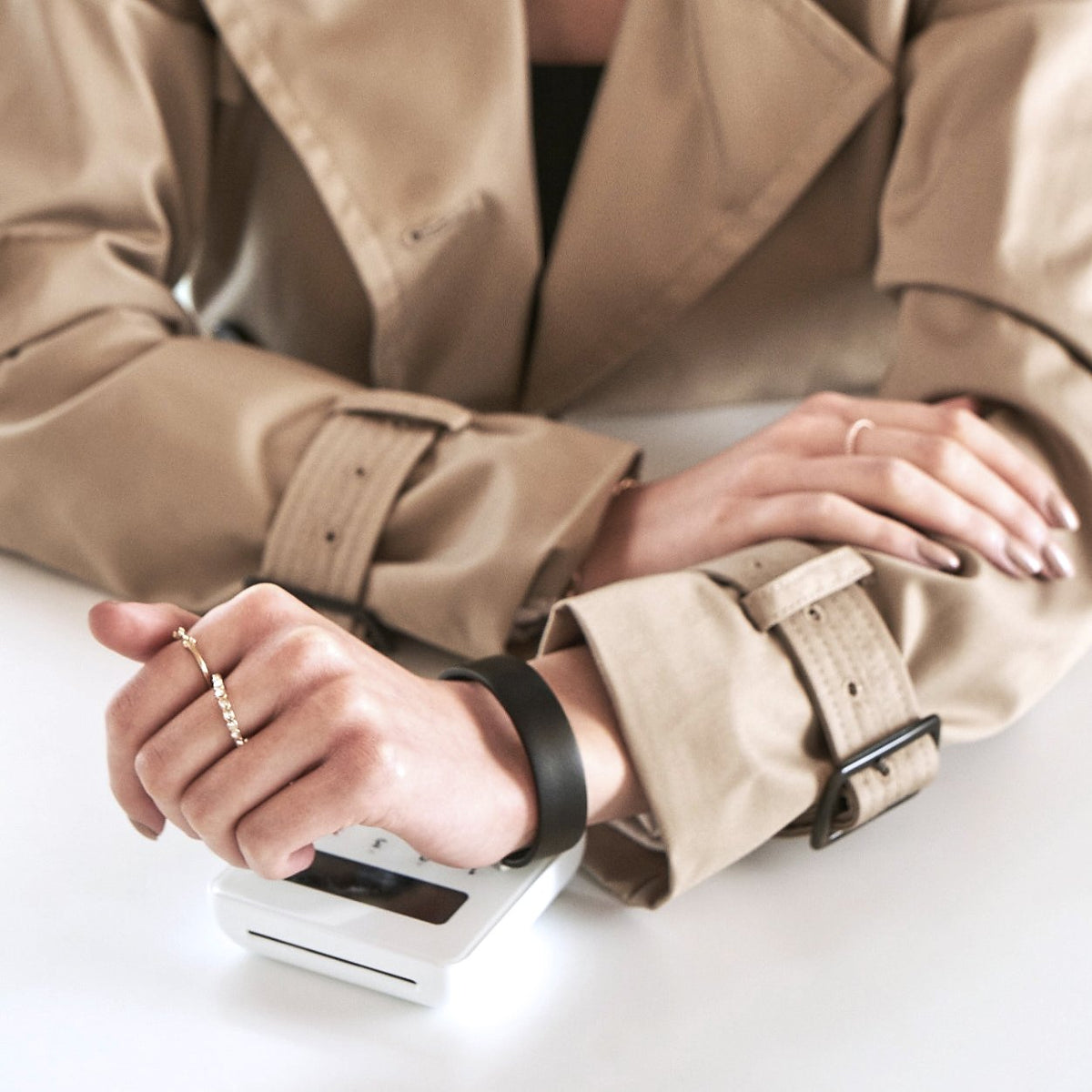 Leather Contactless Payment Bracelet: Black on Tan Contactless Payment Bracelet Tovi Sorga